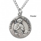 """Round St. Genevieve Dime Size Medal + 18"""" Chain"""