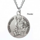 "Round St. Hubert Dime Size Medal + 18"" Chain"
