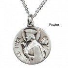 "Round St. Ives Dime Size Medal + 18"" Chain"