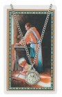 Round St. Joseph The Worker Medal and Prayer Card