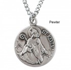 """Round St. Kevin Dime Size Medal + 18"""" Chain"""