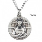 "Round St. Lawrence Dime Size Medal + 18"" Chain"