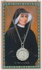 Round St. Maria Faustina Medal with Prayer Card