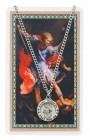 Round St. Michael The Archangel Medal with Prayer Card