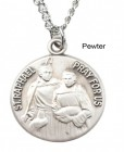"Round St. Raphael Dime Size Medal + 18"" Chain"