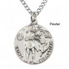 "Round St. Sebastian Dime Size Medal + 18"" Chain"