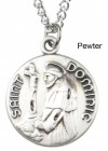 "Round St. St. Dominic Dime Size Medal + 18"" Chain"
