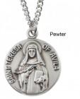 """Round St. Teresa Avila Dime Size Medal + 18"""" Chain"""