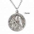 "Round St. Therese Dime Size Medal + 18"" Chain"
