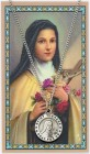 Round St. Therese Medal with Prayer Card
