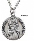 "Round St. Thomas the Apostle Dime Size Medal + 18"" Chain"