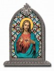 Sacred Heart of Jesus Glass Art in Arched Frame