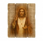 Sacred Heart Wall Plaque in Distressed Wood