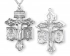 Sacred Heart and Miraculous Crucifix Pendant - Sterling Silver