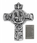 Saint Brendon Wall Cross in Pewter 5 Inches