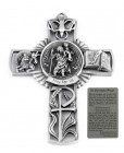 Saint Christopher Wall Cross in Pewter 5 Inches