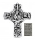 Saint Elizabeth of Hungary Wall Cross in Pewter 5 Inches