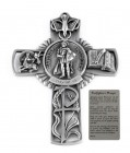 Saint Florian Firefighter Wall Cross in Pewter 5 Inches