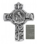 Saint Joseph and Child Wall Cross in Pewter 5 Inches