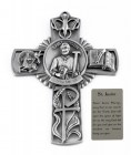 Saint Justin Wall Cross in Pewter 5 Inches