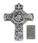 Saint Kevin Wall Cross in Pewter 5 Inches