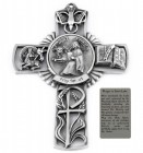Saint Luke Wall Cross in Pewter 5 Inches