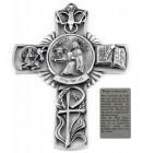 Saint Luke Wall Cross in Pewter 5 Inches