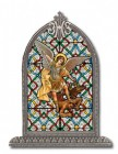 Saint Michael Glass Art in Arched Frame