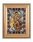 Saint Michael Gold Frame Stained Glass Effect