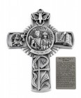 Saint Michael Police Wall Cross in Pewter 5 Inches