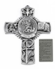 Saint Michael Wall Cross in Pewter 5 Inches