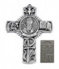 Saint Nicholas Wall Cross in Pewter 5 Inches