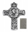 Saint Padre Pio Wall Cross in Pewter 5 Inches