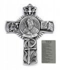 Saint Patrick Wall Cross in Pewter 5 Inches
