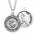 Saint Rita Sterling Silver Baseball Medal Boys