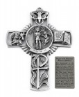 Saint Sebastian Wall Cross in Pewter 5 Inches