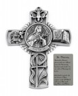 Saint Therese Wall Cross in Pewter 5 Inches