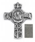 Saint Thomas Aquinas Wall Cross in Pewter 5 Inches
