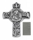 Saint Thomas More Wall Cross in Pewter 5 Inches
