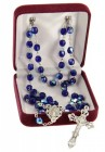 September Dark Blue Aurora Glass Bead Rosary