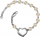 Girls Silver Heart Bracelet 4mm Heart Shaped Pearl Beads