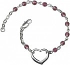 Girls Silver Heart Bracelet 4mm Swarovski Crystal Beads - Amethyst