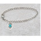 "Silver Heart and Miraculous First Communion Bracelet - 6 1/2""L"