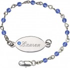 Girls Swarovski Crystal Bracelet 4mm Beads and Nameplate  - Sapphire