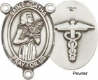 St. Agatha Nurse Rosary Centerpiece Sterling Silver or Pewter