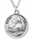 Boy's Round Sterling Silver Saint Anthony Medal