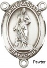 St. Barbara Rosary Centerpiece Sterling Silver or Pewter