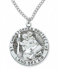 St. Christopher Land, Sea, Air Medal Sterling Silver - 1 1/8 inch