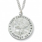 Women's Round St. Christopher Medal Sterling Silver