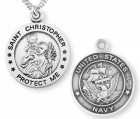 St. Christopher Navy Medal Sterling Silver